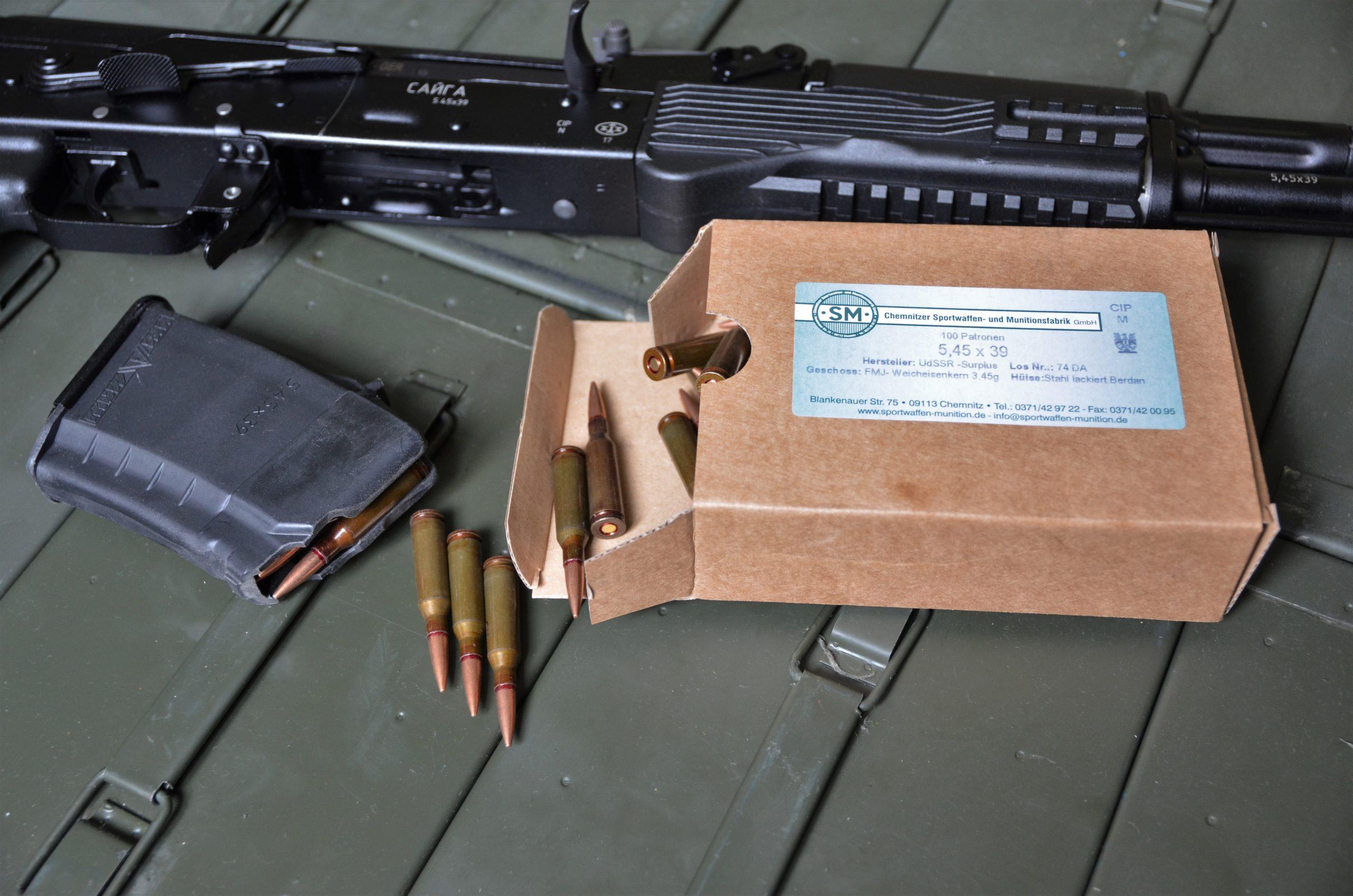 5.45 x 39 M74 Surplus UdSSR 3.45 g FMJ - 100 Schuss Büchsenpatronen